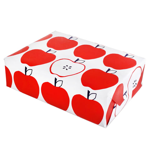 apple gift wrapping paper sheets by beve in red and navy
