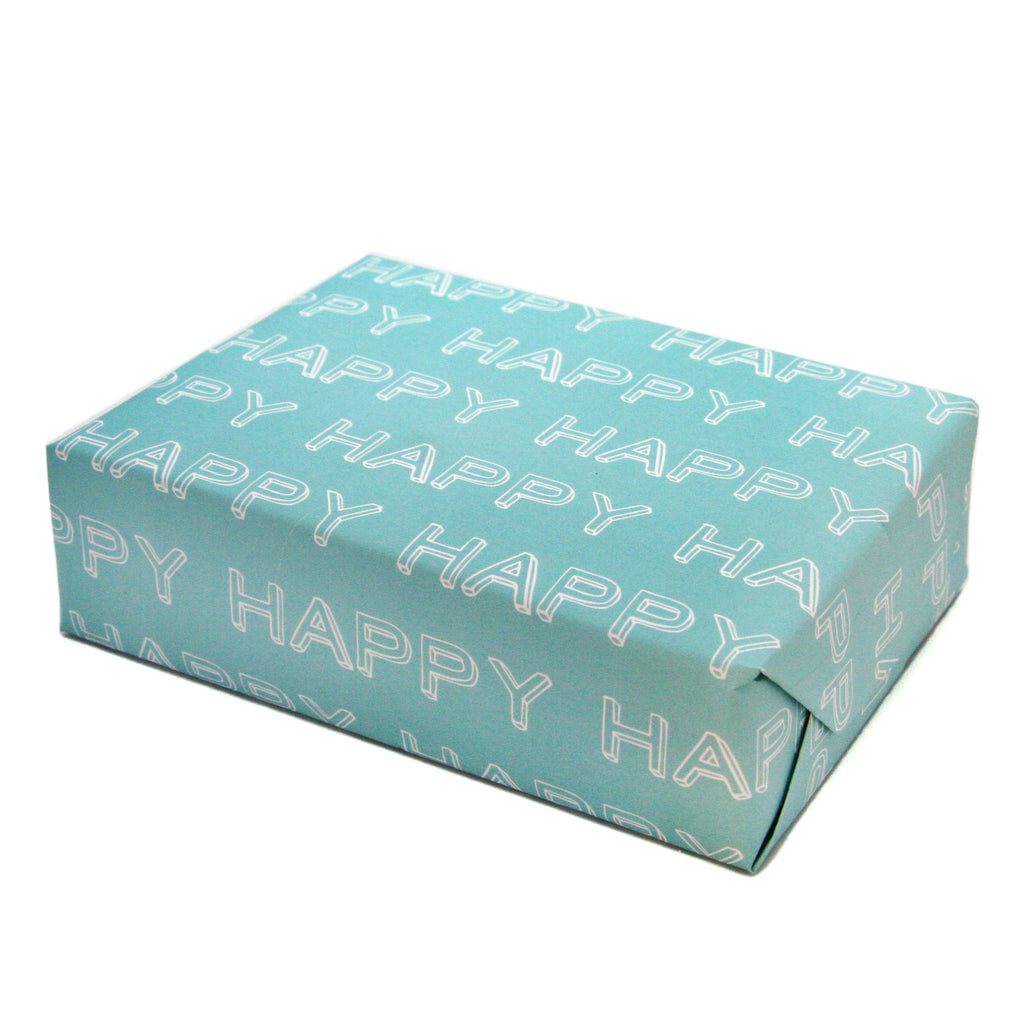SALE, 25% OFF - HAPPY Typographical Gift Wrapping Paper Sheets in Carnival Blue