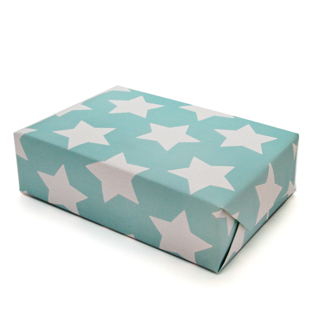 SALE, 50% OFF -Star Gift Wrapping Paper Sheets in Carnival Blue