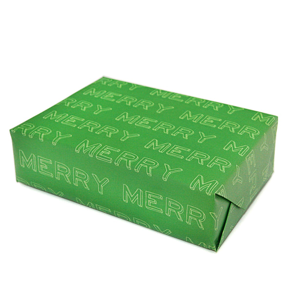 MERRY Typographical Gift Wrapping Paper Sheets in Green