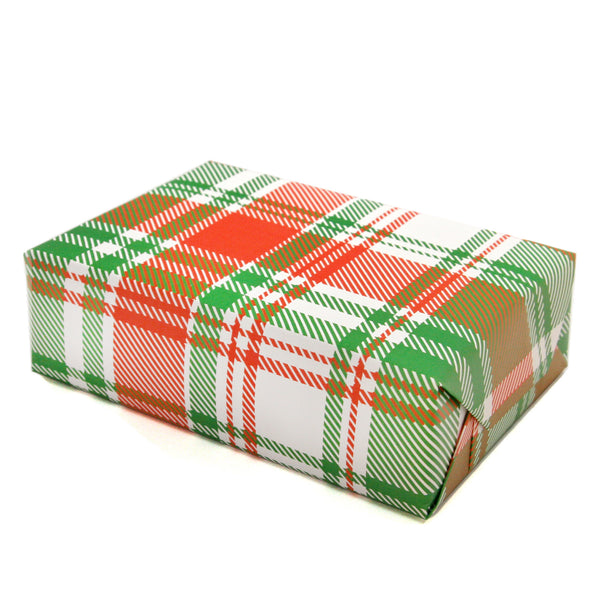 Plaid Wrapping Paper Sheets in Red and Green