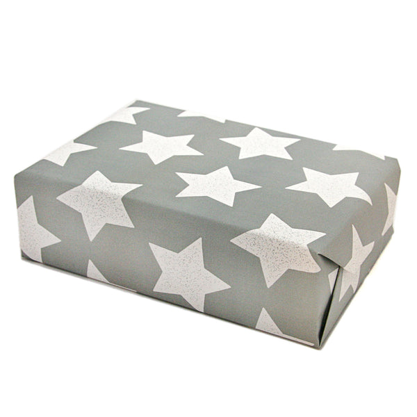 Star Wrapping Paper Sheets in Grey