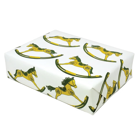 Rocking Horse Gift Wrap in Green and Yellow