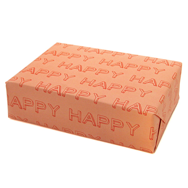 HAPPY Typographical Gift Wrapping Paper Sheets in Pink and Red