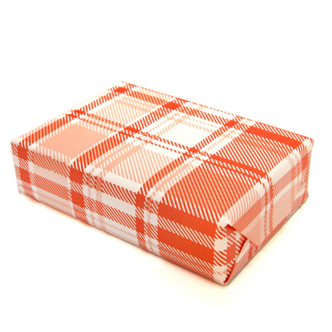 Plaid Wrapping Paper Sheets in Pink and Red
