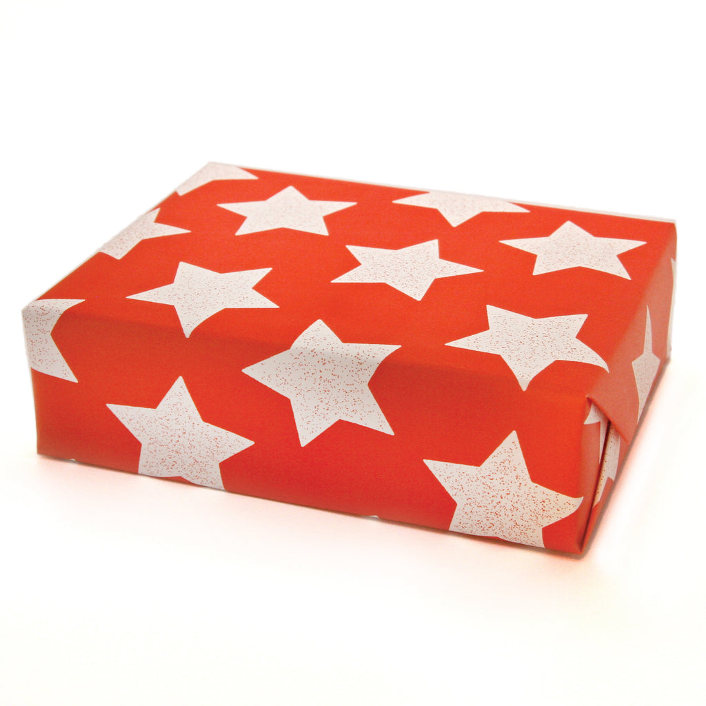 Star Wrapping Paper Sheets in Flame Red