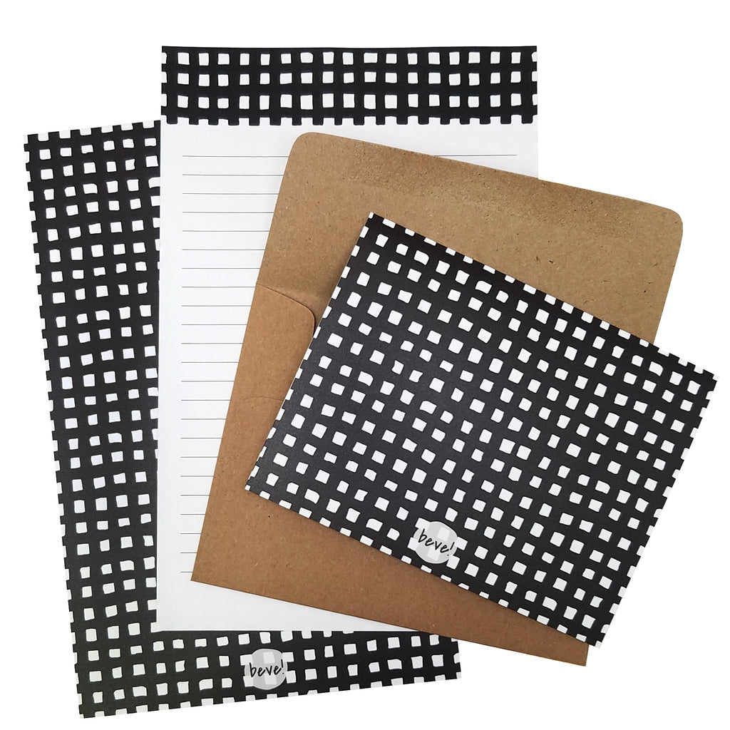 Black Gingham Letter Writing Stationery Set
