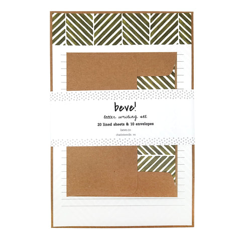 Green Herringbone Letter Writing Set