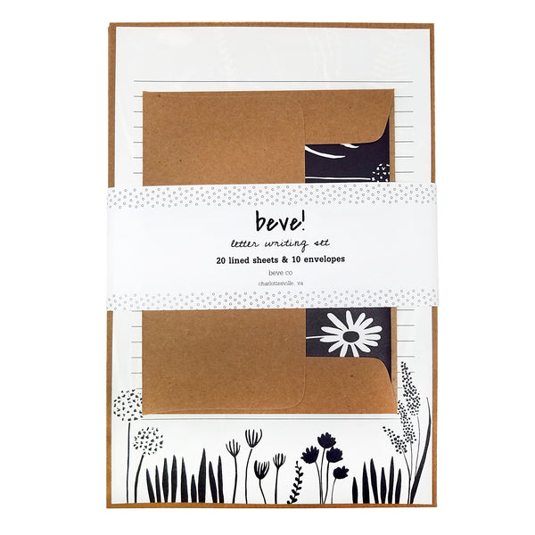 Navy Floral Letter Writing Stationery Set