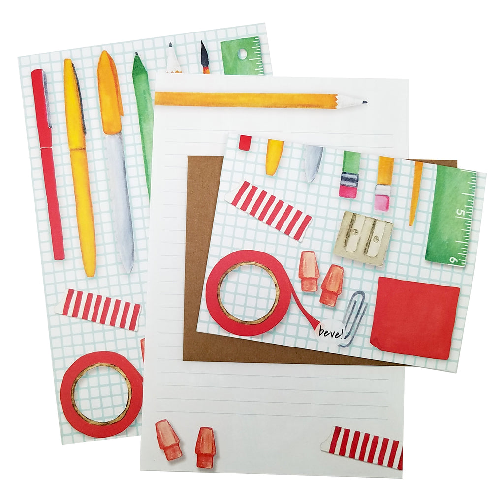 Pens & Pencils Pattern Letter Writing Stationery Set
