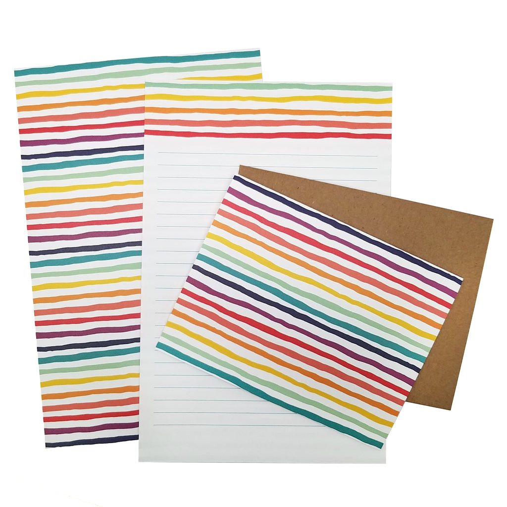 Rainbow Striped Letter Writing Stationery Set