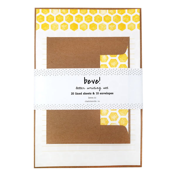 Yellow Hex Honeycomb Letter Writing Stationery Set