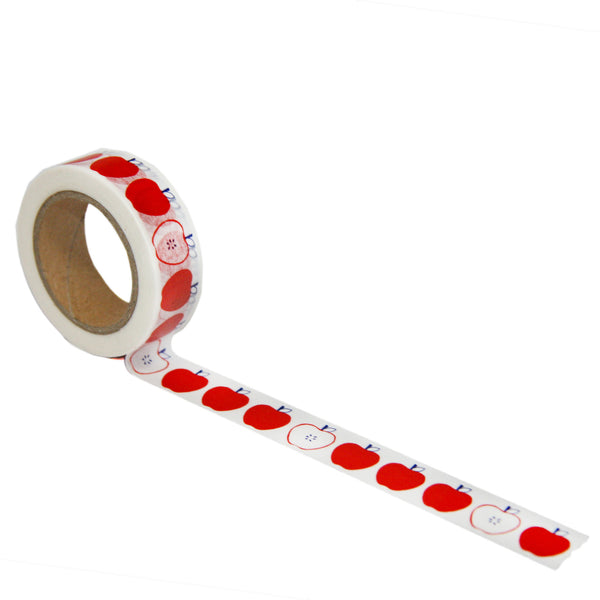 Apple print washi tape in red and navy by beve