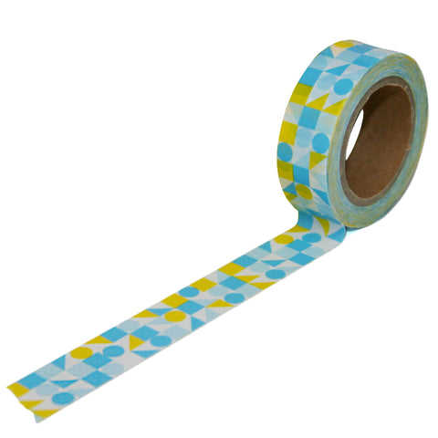 Blue and Yellow Geometric Pattern Washi Tape