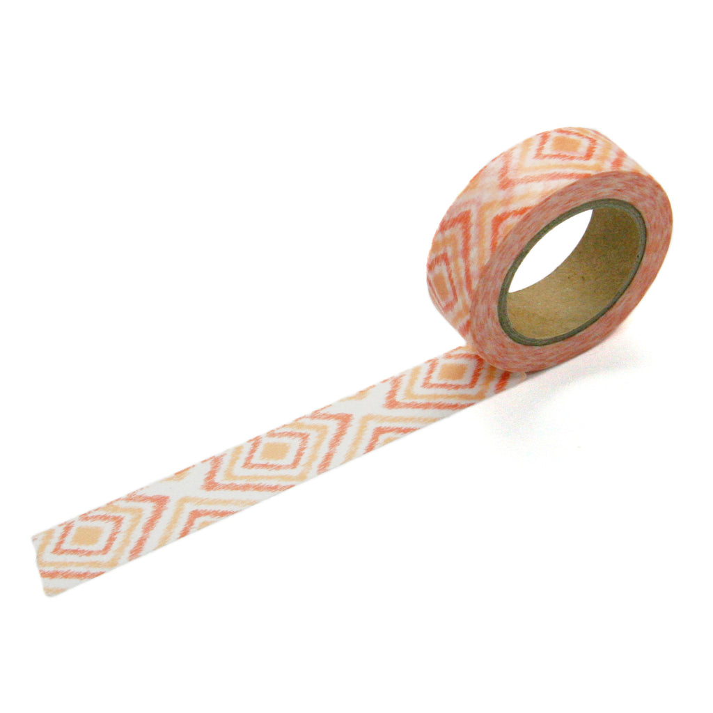 Coral Diamond Ikat Washi Tape