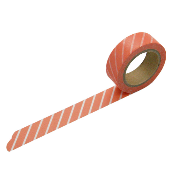 Coral Diagonal Stripe Washi Tape