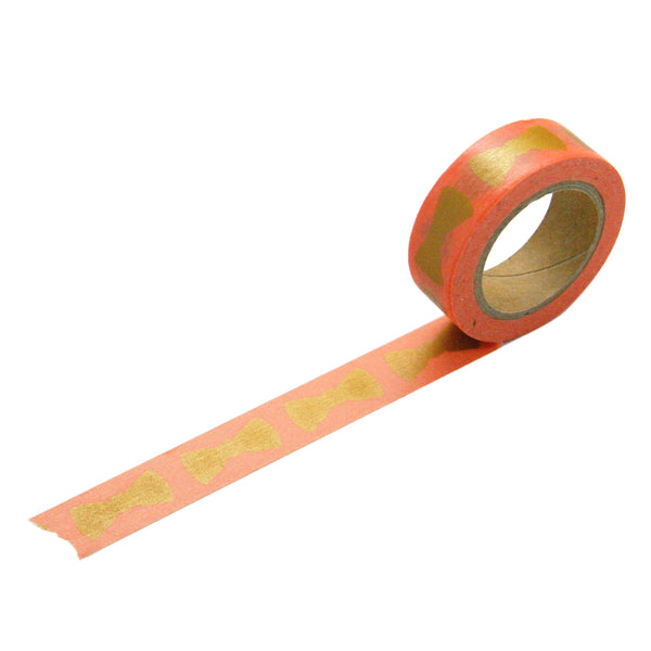Coral Gold Bow Washi Tape