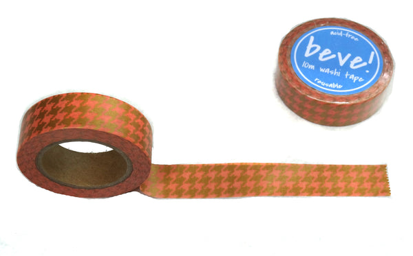 Coral Gold Houndstooth Washi Tape