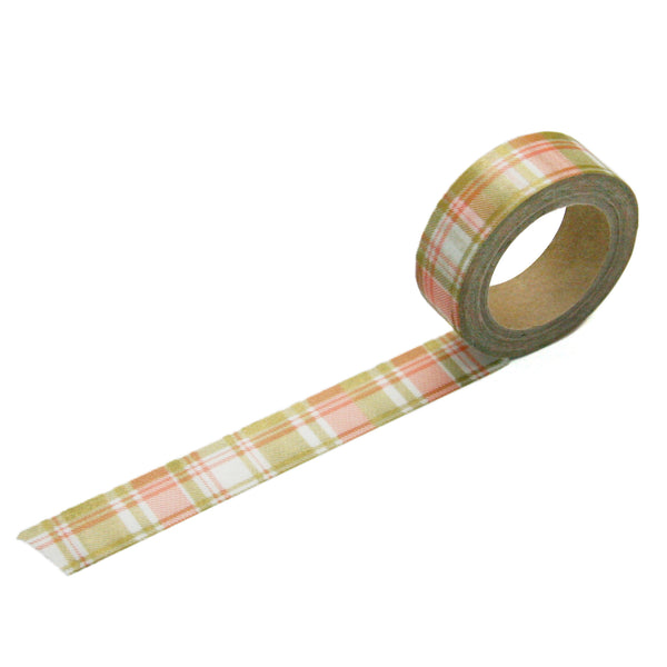 Coral Gold Plaid Washi Tape
