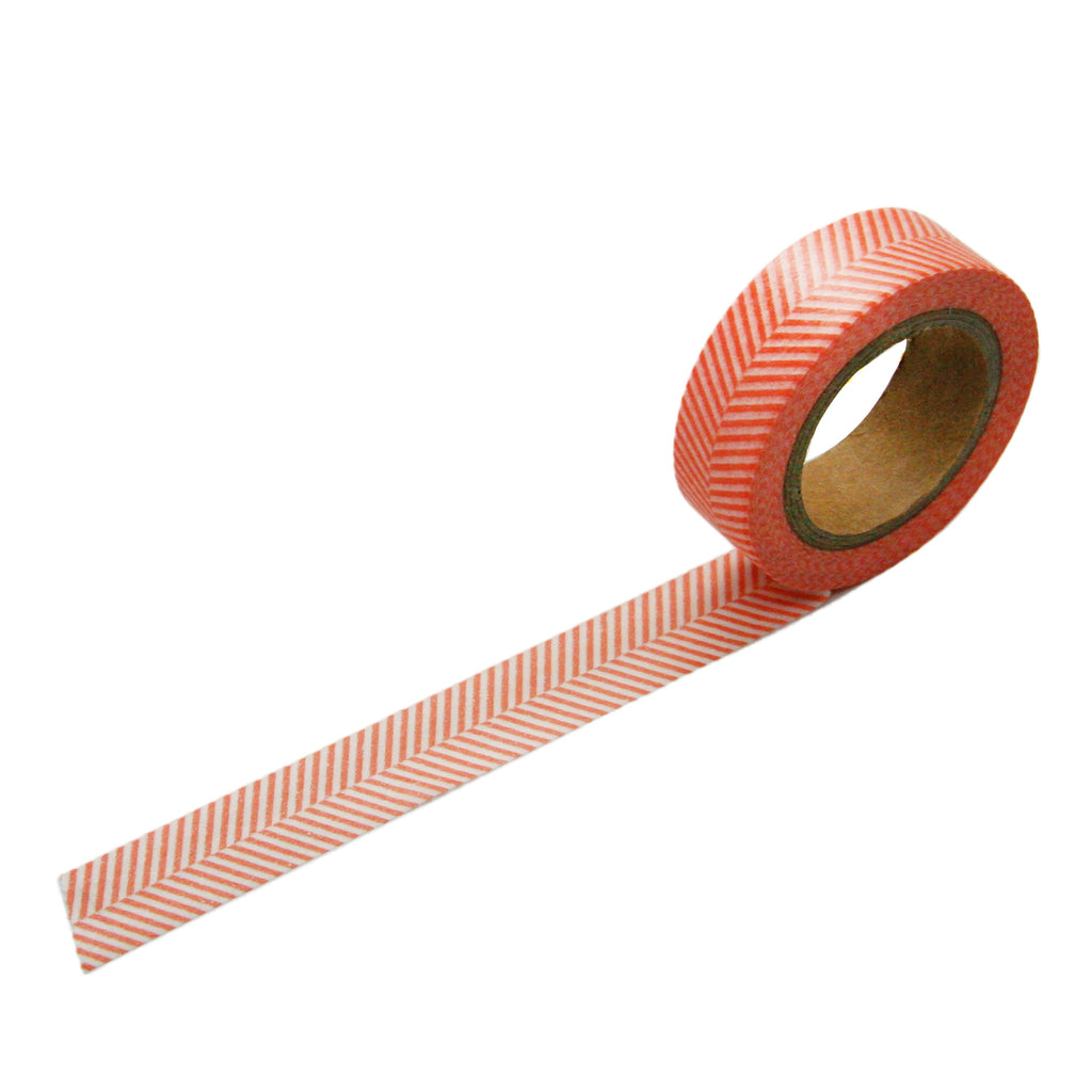 Coral Herringbone Washi Tape
