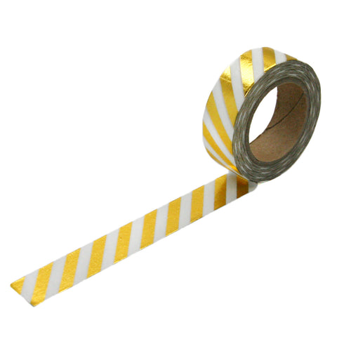 Gold Foil Diagonal Stripe Washi Tape