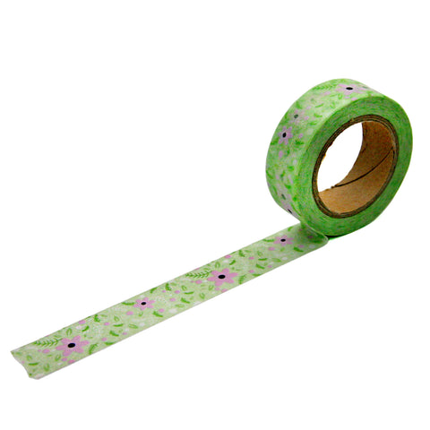 Green and Lavender Floral Washi Tape