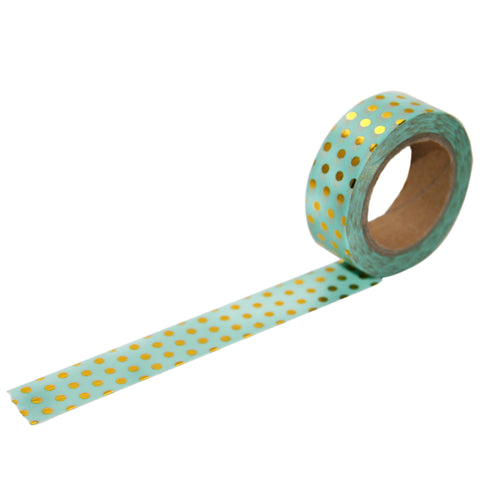 Mint with Gold Foil Dot Washi Tape