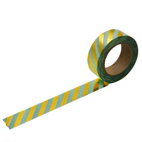 Mint with Gold Foil Diagonal Stripe Washi Tape