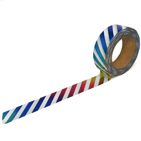 Rainbow Foil Diagonal Stripe Washi Tape