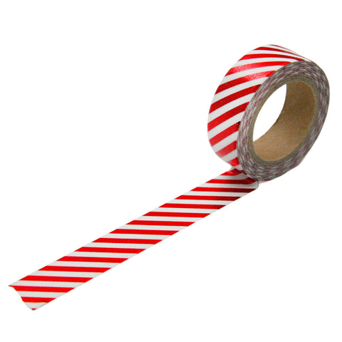 Red Foil Diagonal Stripe Washi Tape