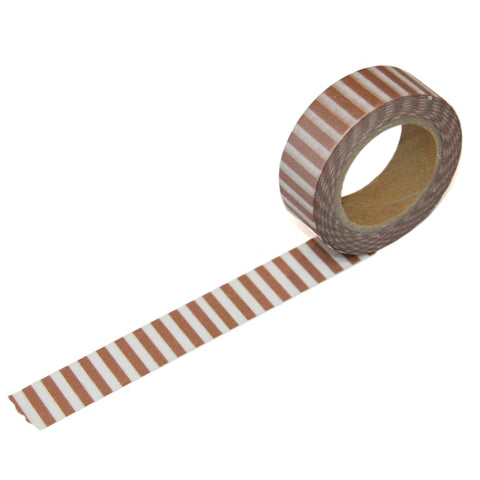 Rose Silver Perpendicular Stripe Washi Tape