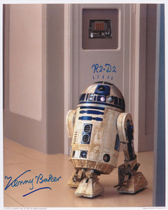 Kenny baker 10x8 signed in Blue - Image C white boarder