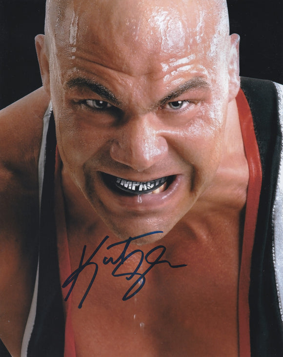 Kurt Angle 10x8 signed in Blue