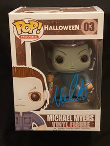 Nick Castle signed Michael Myers Funko signed in blue paint pen.