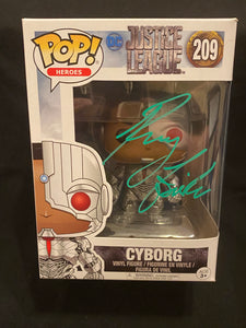 Ray Fisher signed Cyborg Funko signed in green paint pen.