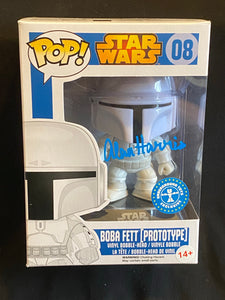 Alan Harris  signed Boba Fett Funko signed in blue paint pen.
