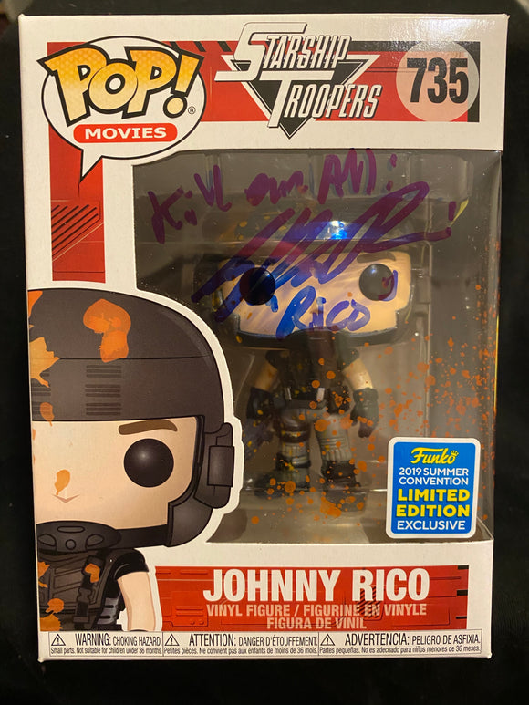 Casper Van Dien Funko signed in Blue Sharpie pen.