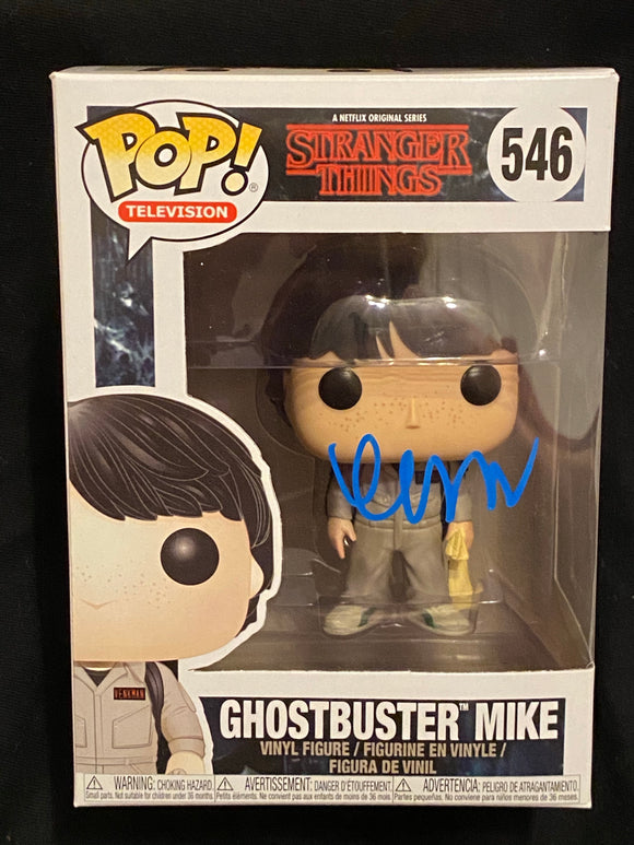 Finn wolfhand Mike ghostbusters Funko signed in Blue Paint pen.