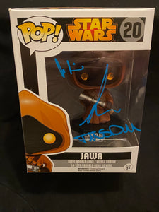 Andrea Wickman, Simon Henderson and Tim Donaldson signed Jawa Funko signed in blue paint pen.