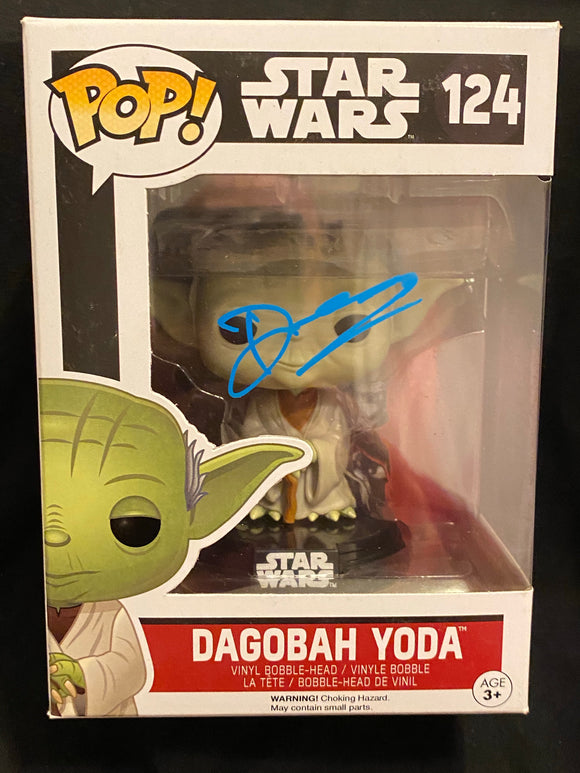 Deep Roy Yoda Funko signed in Blue paint pen.
