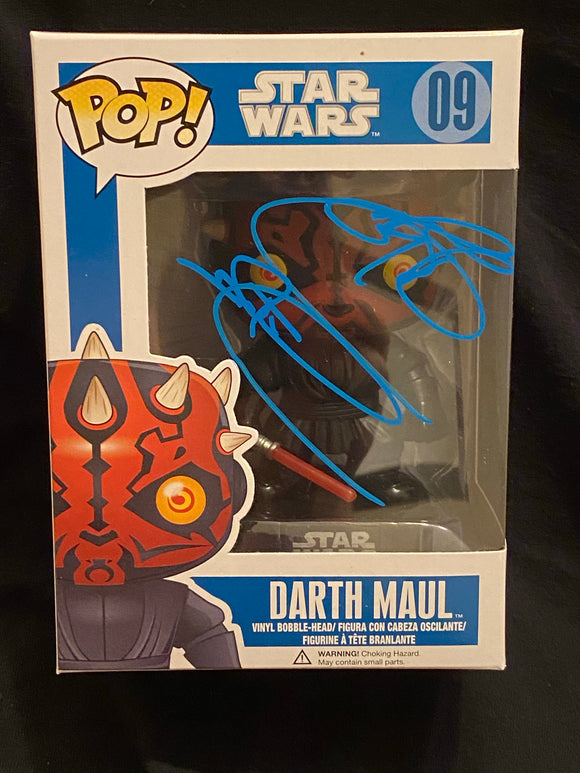 Ray Park Darth Maul Funko signed in Blue Paint pen.