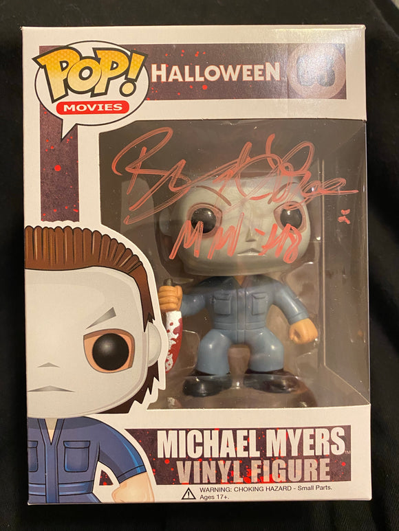 Brad Loree Micheal Myers Funko signed in Red Paint pen.