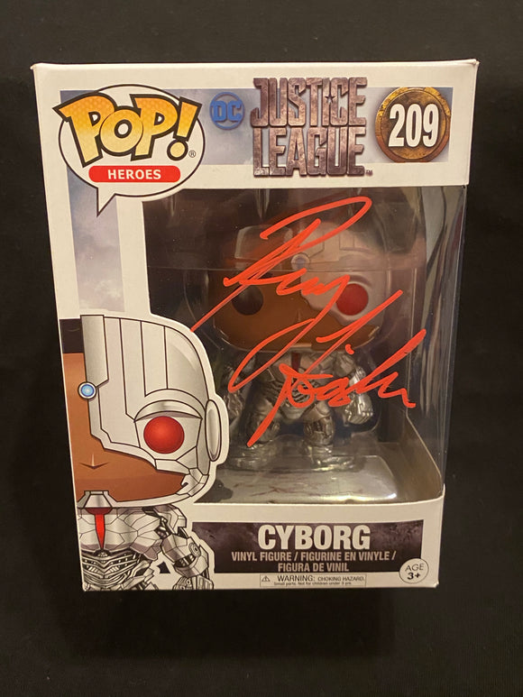 Ray Fisher signed Cyborg Funko signed in red paint pen.