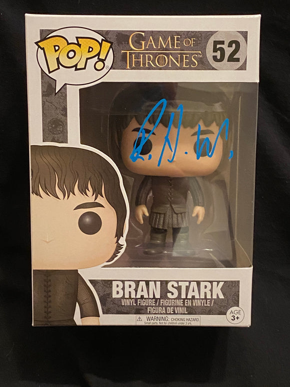 Isaac Hempstead Wright Bran Stark  Funko signed in Blue paint pen.