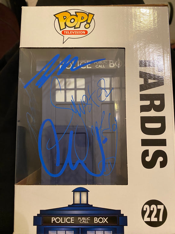 Doctor Who TARDIS Funko signed x 5 in Blue Paint pen.