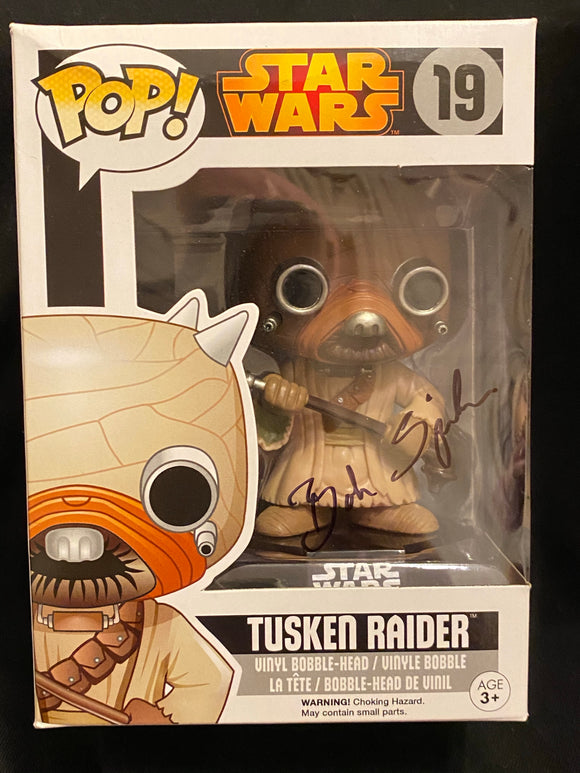 Bob Spiker Tuskin raider Funko signed in Black Sharpie pen.