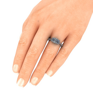 Emerald Cut Graduated Three Stone Ring by Moores