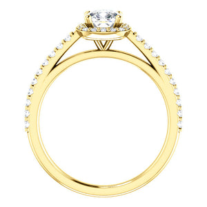 Moores Custom Made Halo Style Cushion Cut Engagement Ring