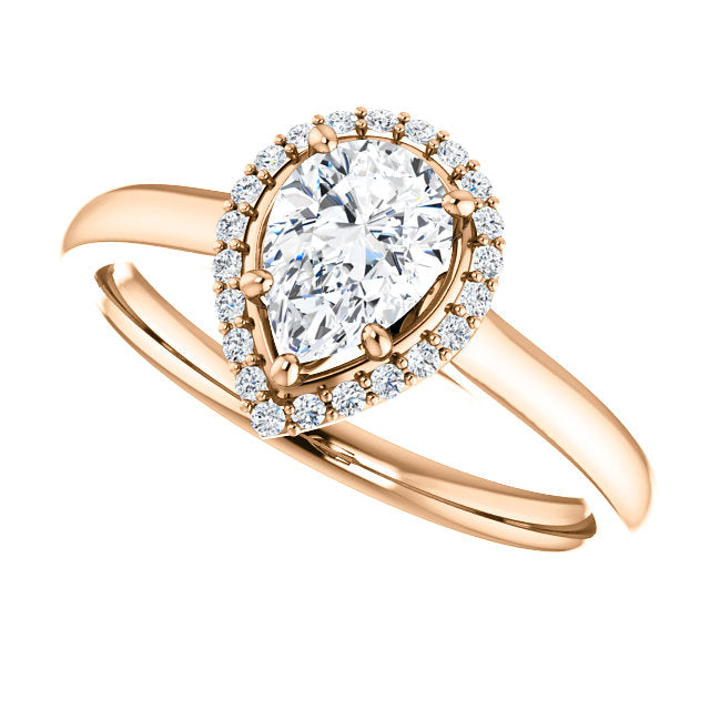 Moores Custom Made Halo Style Pear Shaped Diamond Engagement Ring