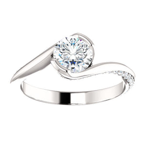 Solitaire Diamond Ring with a Twist by Moores